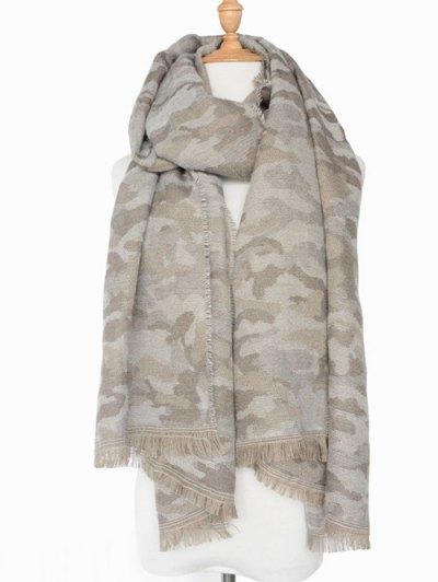 Army Camouflage Pattern Fringed Shawl Scarf