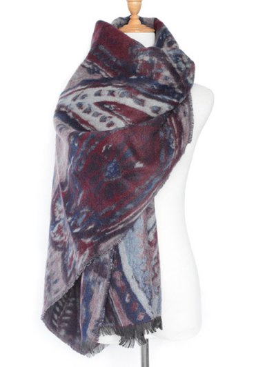 Ethnic Mural Pattern Fringed Shawl Scarf
