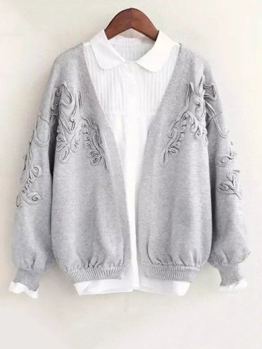 Floral Applique Cardigan - GRAY ONE SIZE