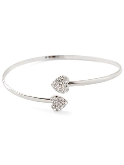 Rhinestone Heart Cuff Bracelet