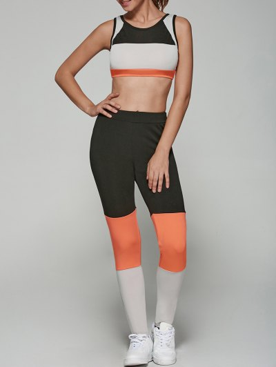 Color Spliced Stretchy Sports Suit