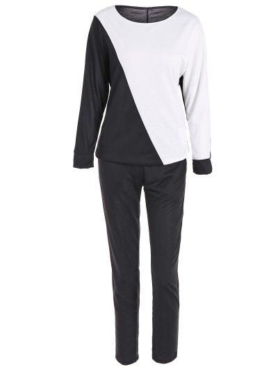 Color Block Sweatshirt and Sport Pants