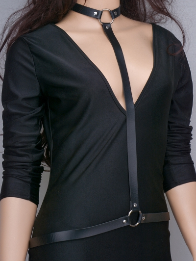 Faux Leather Body Chain