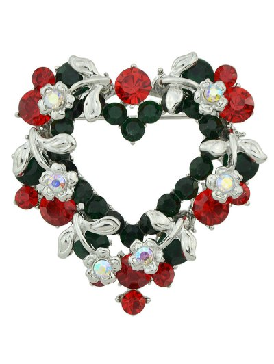 Flower Leaf Heart Rhinestone Brooch