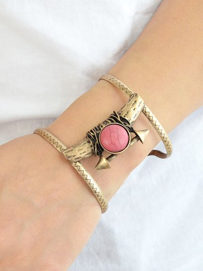 Natural Stone Alloy Cuff Bracelet