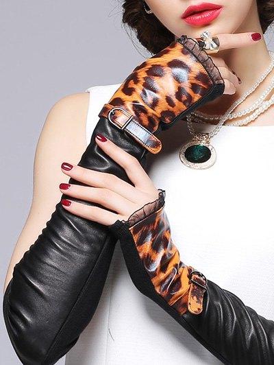 Leopard Pattern Leather Arm Warmers