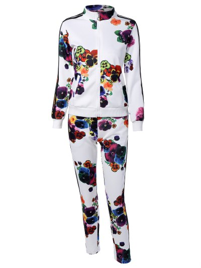 Flower Print Striped Sports Suit