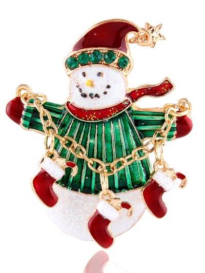 Snowman Star Christmas Shoes Rhinestone Brooch