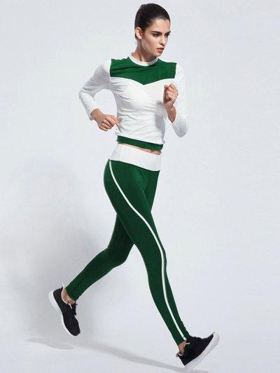 Skinny Color Block Yoga T Shirt With Pants