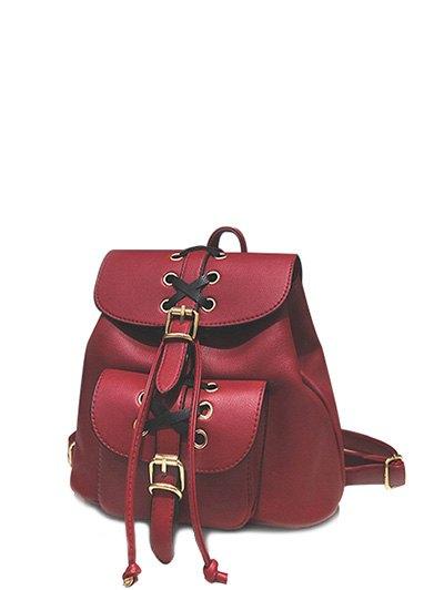 Criss Cross PU Leather Backpack