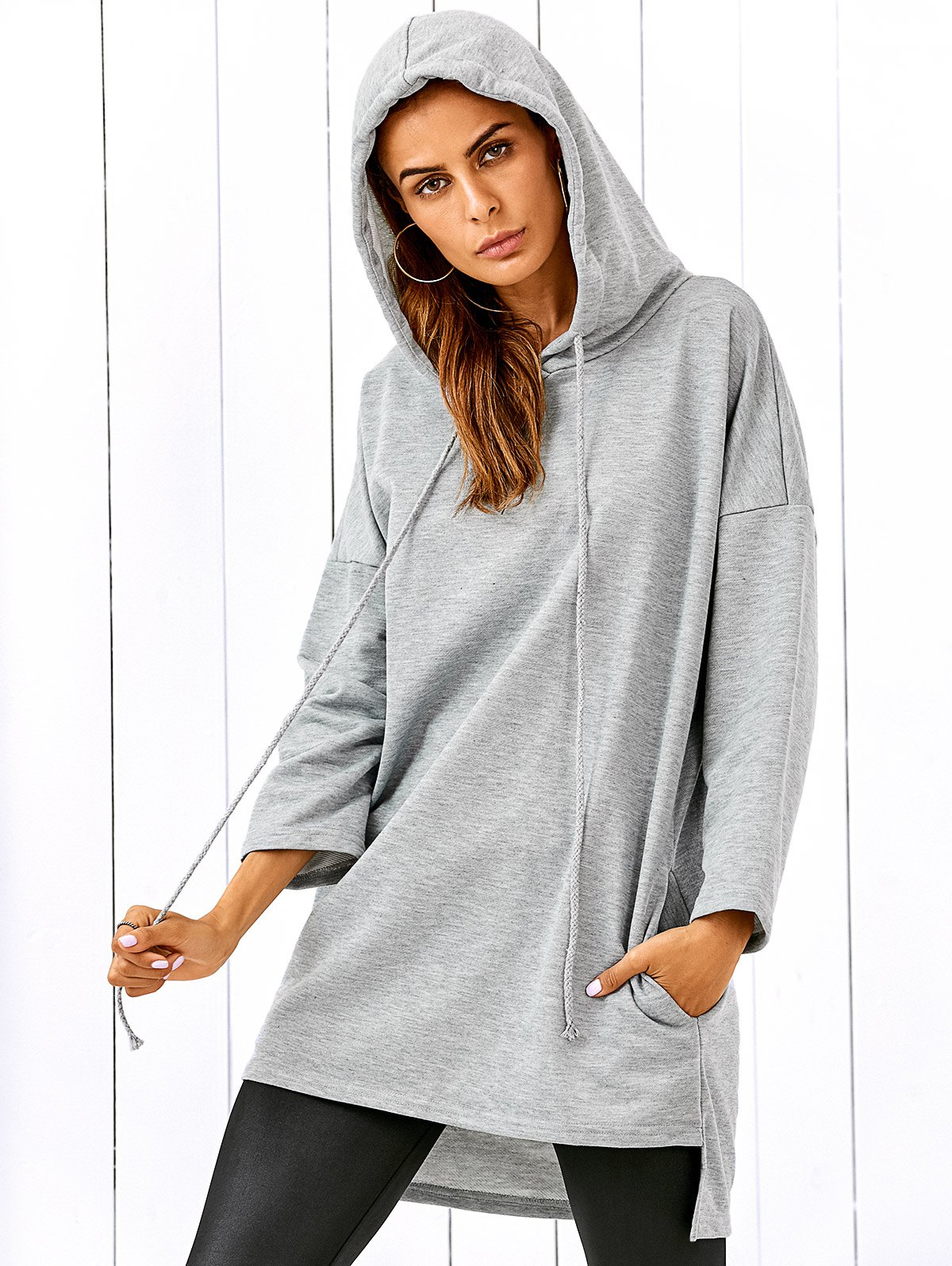 Drop Shoulder Long Pullover Hoodie