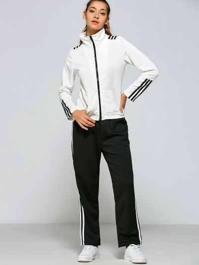 Pockets Design Striped Gym Outfits