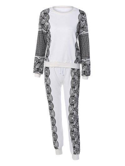 Print Sports Sweatshirt and Drawstring Casual Pants