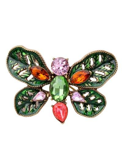 Faux Gem Oval Leaf Butterfly Brooch