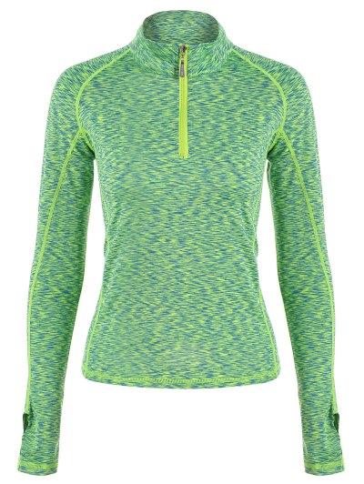 Zipper Design Heathered Topstitched T Shirt