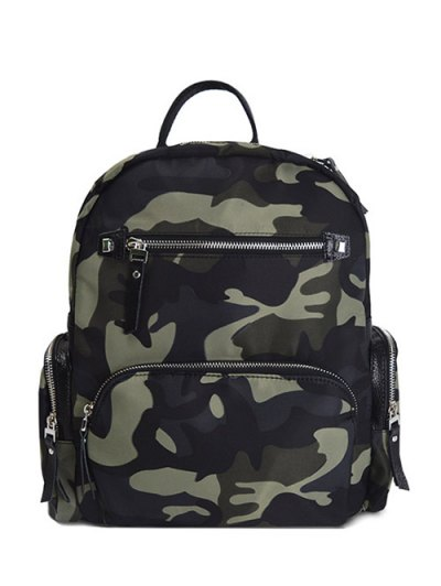 Camouflage Pattern Zippers Backpack