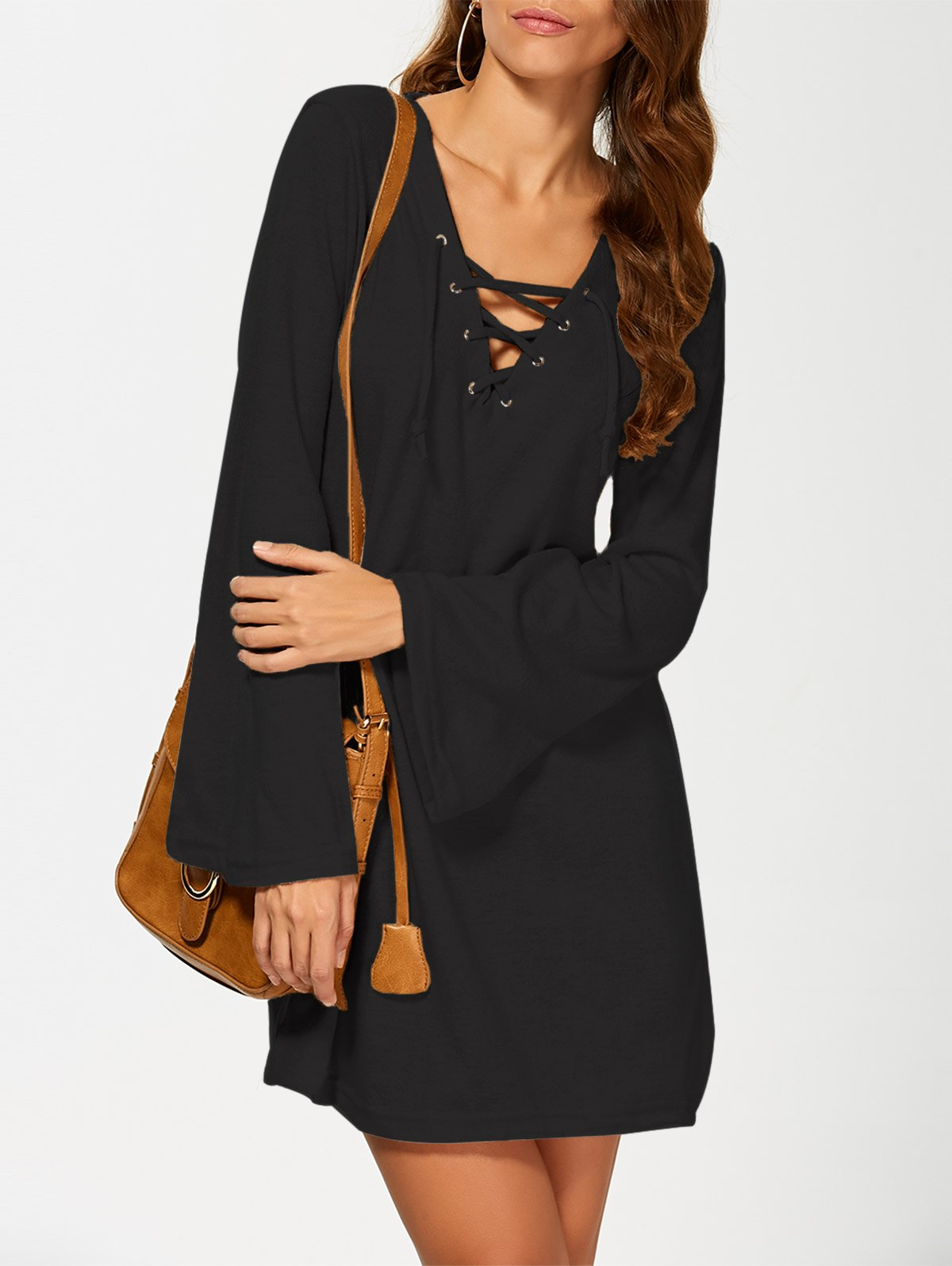 V Neck Long Sleeve Knit Dress