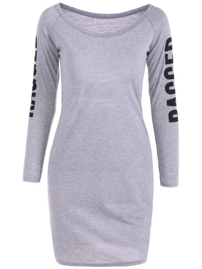 Scoop Neck Back Cutout Ragged Print Bodycon Dress