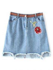 Asymmetric Floral Denim Skirt