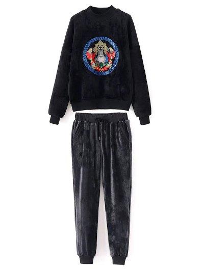 Velvet Sweatshirt and Jogging Pants