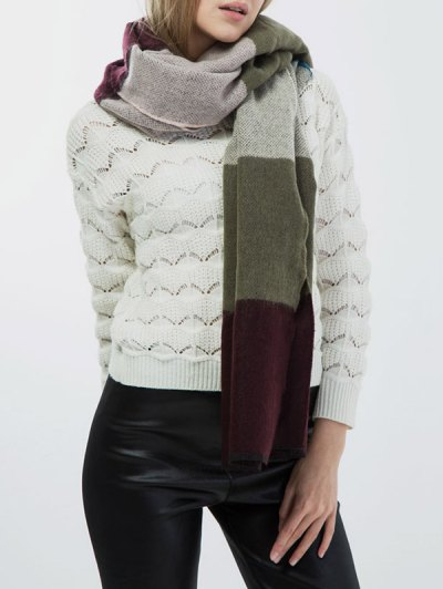 Color Block Knitted Scarf