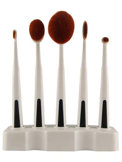 5 Pcs Nylon Toothbrush Shape Makeup Brushes Set with Brush Holder