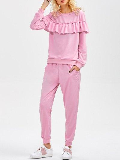 Flounced Sweatshirt and Pockets Design Pants