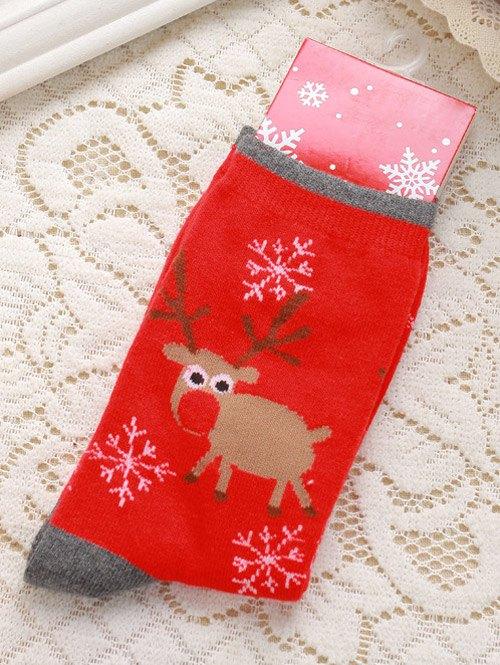 Pair of Knitted Deer Jacquard Christmas Socks