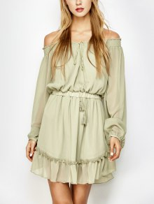 Off The Shoulder Chiffon Ruffle Mini Dress