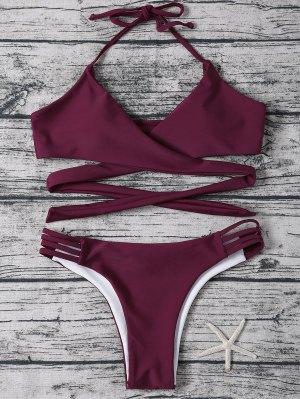 Bikinis Bandeau Entrecroisé Rouge - Bordeaux S