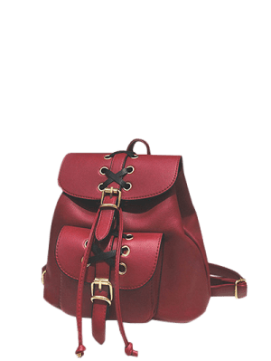 Buckles Eyelet Criss-Cross PU Leather Backpack - Red