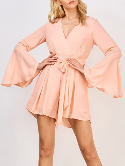Zaful Flare Sleeve Surplice Romper