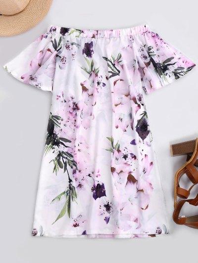 Zaful Off The Shoulder Flower Vintage Dress