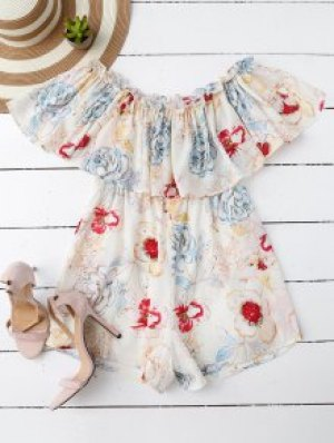 Off Shoulder Floral Romper - White