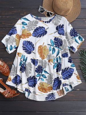 Leaf Print Skirted Holiday Top