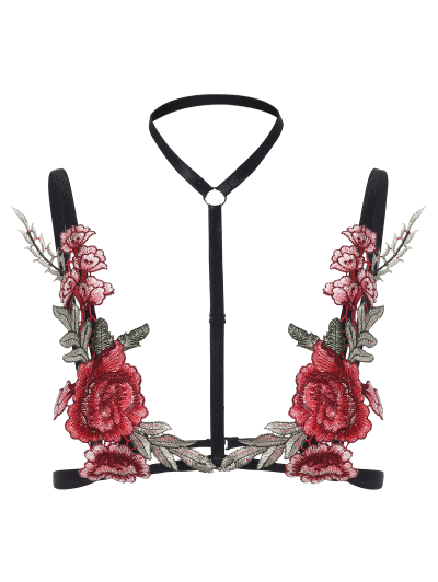 Zaful Bondage Floral Applique Lingeries Bra