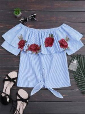 Off Shoulder Striped Knot Hem Floral Top - Blue Stripe