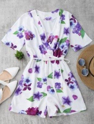 Floral Surplice Romper - White