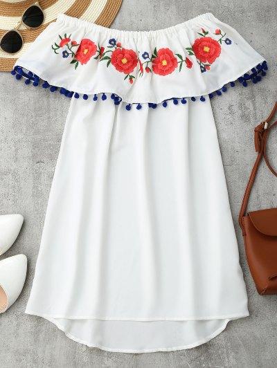 Zaful Embroidered Ruffles Off Shoulder Mini Dress