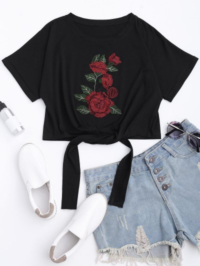 Zaful Floral Patched Self Tie Bowknot Tee
