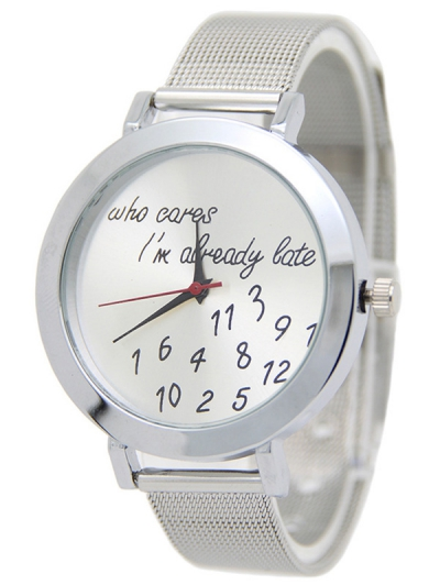 Engraved Letters Numbers Pattern Watch