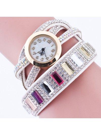 Faux Gem Geometric Wrap Bracelet Watch