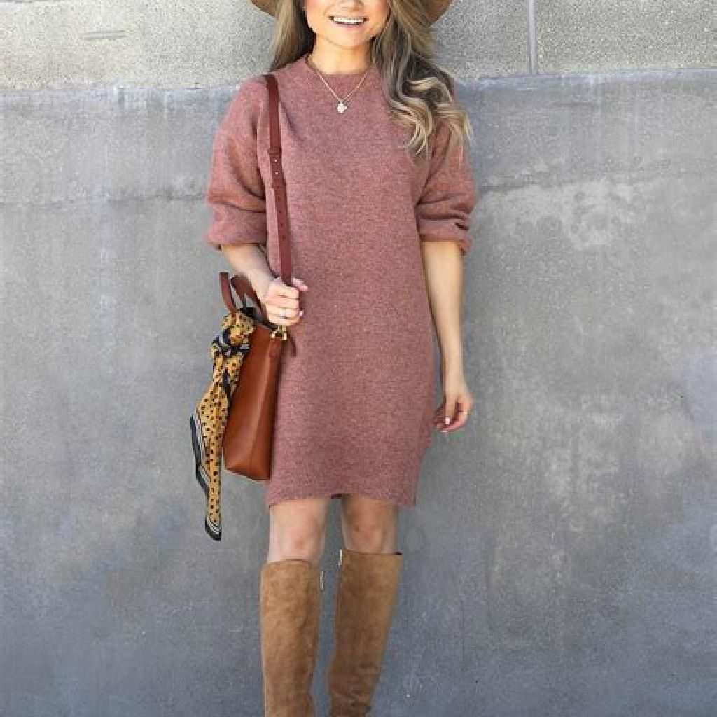 Chic Sweater Combination Ideas Suitable For Fall And Winter 06