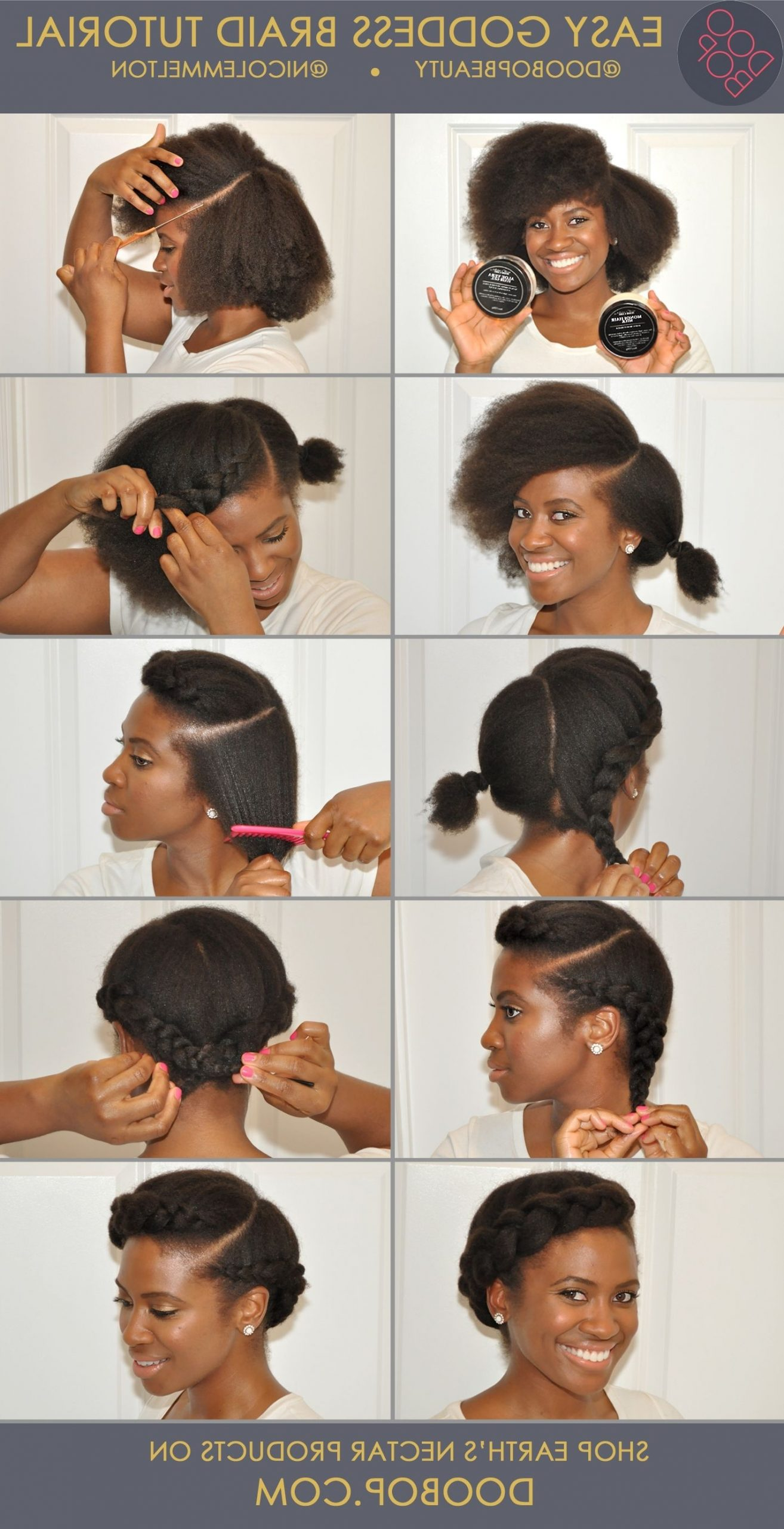 Easy Natural Hair How To: Goddess Braid With Earth'S Nectar Transitioning Hairstyles For Medium Hair