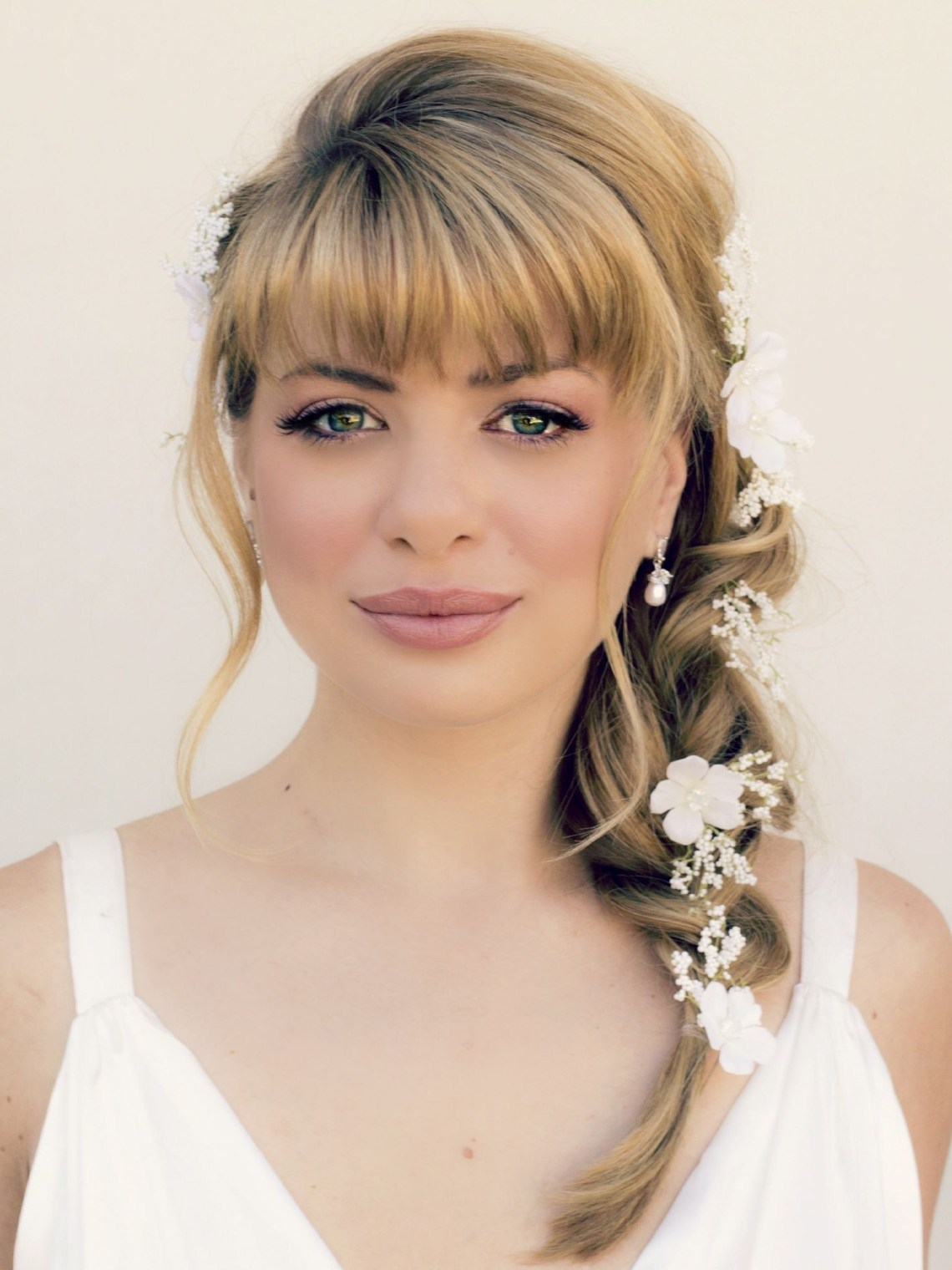 Side Bride Bridal Hairstyle With Bangs 2 (1500×2000 Wedding Hairstyles For Medium Length Hair With Bangs