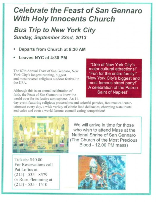 Bus Trip to New York City for the Feast of San Gennaro