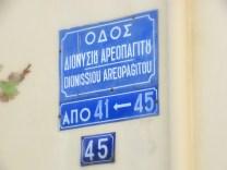 Placa de rua em Atenas