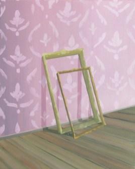 """GloriaMartín. De la serie """"El Traslado de la Imagen"""" (cuadro rosa), 2013. Óleo y acrílico sobre lienzo. 33×41cm"""