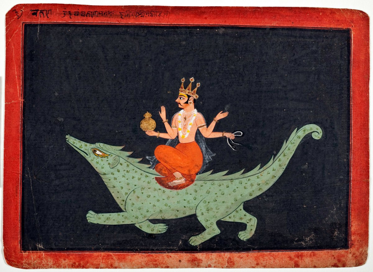 Varuna deva seated on his mount Makara