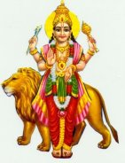 Budha deva standing and blessing with his lion behind him